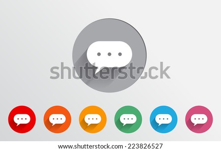 Set of colorful chat bubble with dots icons - stock vector
