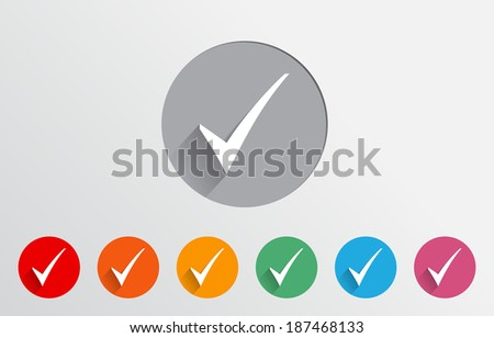 Set of colorful check icons - stock vector