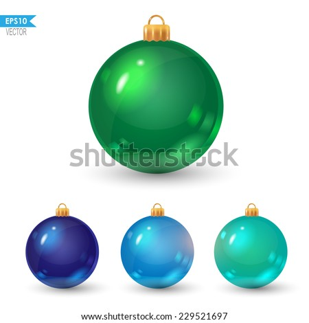 set of colorful christmas balls: green, blue and turquoise - stock vector