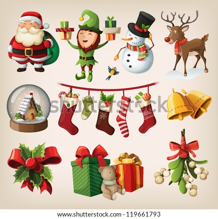 Set of colorful christmas characters and decorations - stock vector