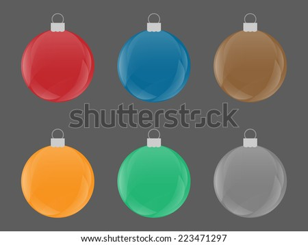 Set of colorful Christmas Retro Bulb Vector - stock vector