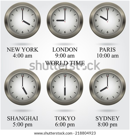 Set of colorful clock icon,world time concept. Vector illustration - stock vector