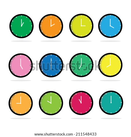 Set of colorful clocks icon. Vector illustration eps10. - stock vector