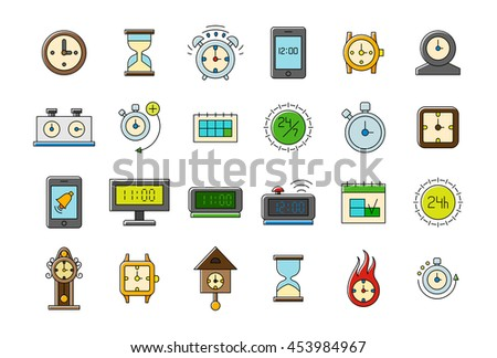 Set of 24 Colorful clocks vector icons  - stock vector