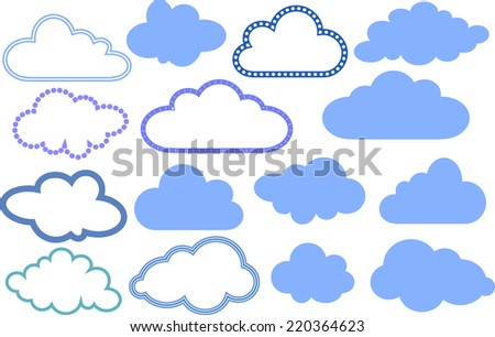 Set of colorful clouds and different contours - stock vector