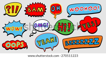 Set of colorful comic speech bubble with the text. Vector illustration. - stock vector