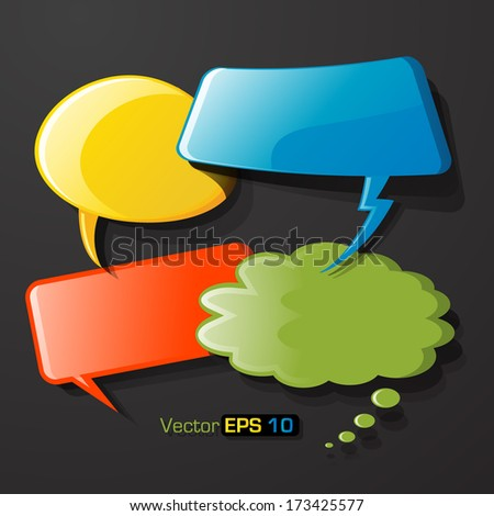 Set of colorful cpeech cubbles - stock vector
