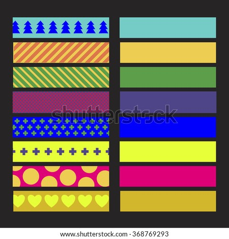 SET OF COLORFUL CRAFT TAPE WITH VARIANT PATTERNS. ON THE BLACK BACKGROUND. Editable vector illustration file. - stock vector