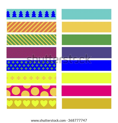 SET OF COLORFUL CRAFT TAPE WITH VARIANT PATTERNS ON THE WHITE BACKGROUND. Editable vector illustration file.  - stock vector