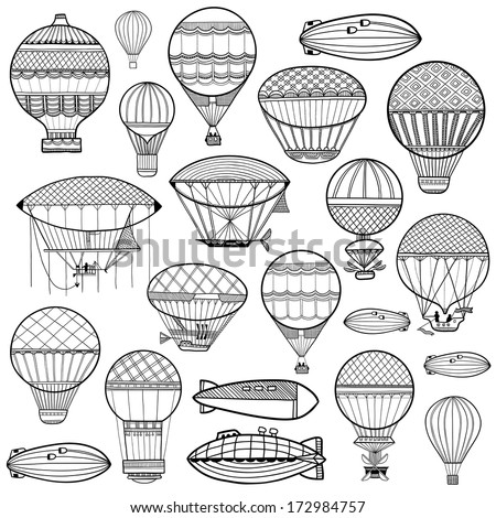 Set of colorful cute balloon, aerostat. Line illustration - stock vector