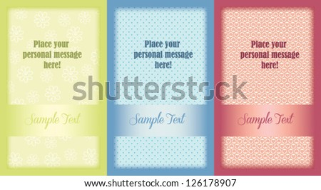 Set of colorful cute editable template greeting cards, isolated on white, for Wedding, Valentine's day, or other romantic occasion - stock vector