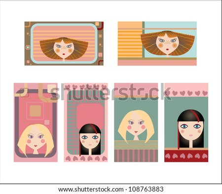 Set of colorful decorative business cards featuring attractive girls with stylish hair styles - stock vector