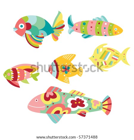 Set of colorful decorative fish - stock vector