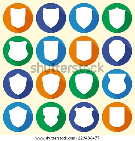 Set of colorful different shield shapes icons in flat style with long shadow. Vector illustration - stock vector