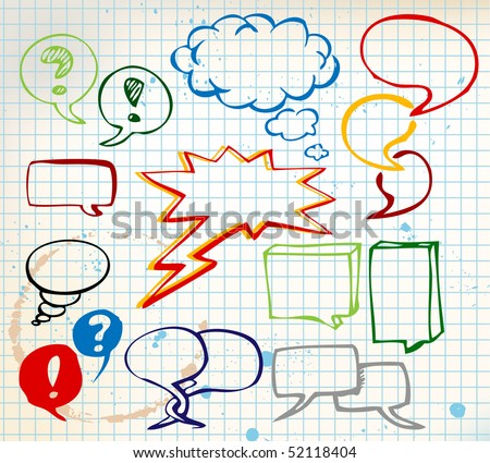 Set of colorful doodle speech bubbles on chequered paper - stock vector