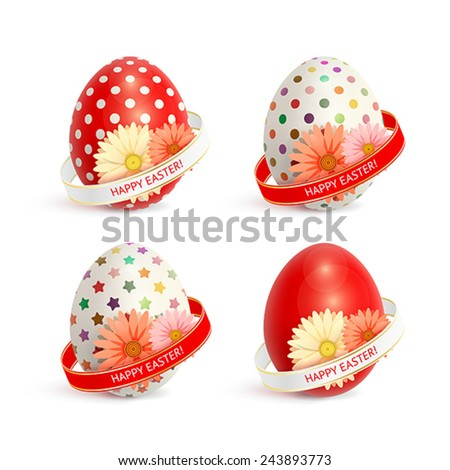 Set of colorful Easter eggs, decorated with ribbons and flowers - stock vector