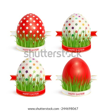 Set of colorful Easter eggs, decorated with ribbons and grass - stock vector