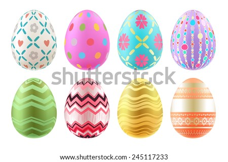 Set of colorful Easter eggs in bright colors. Realistic eggs, decorated with waves, dots, lines and flowers. - stock vector