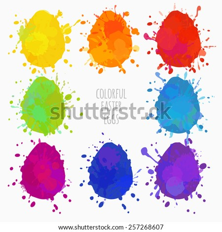 set of colorful eggs for Easter, eggs with paint splatters - stock vector