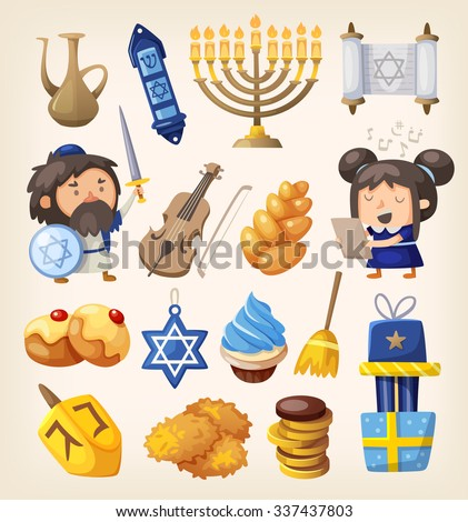 Set of colorful elements for Hanukkah celebration - stock vector