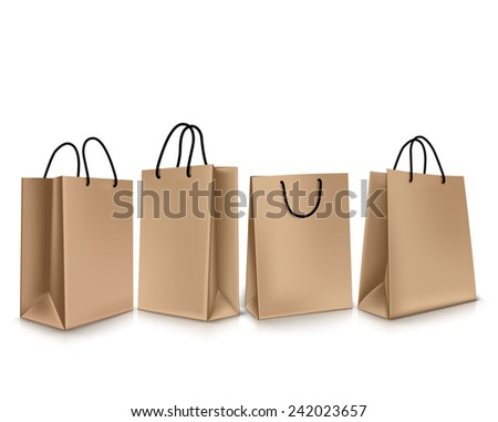 Set of Colorful Empty Shopping Bags Isolated in White. Vector Illustration - stock vector