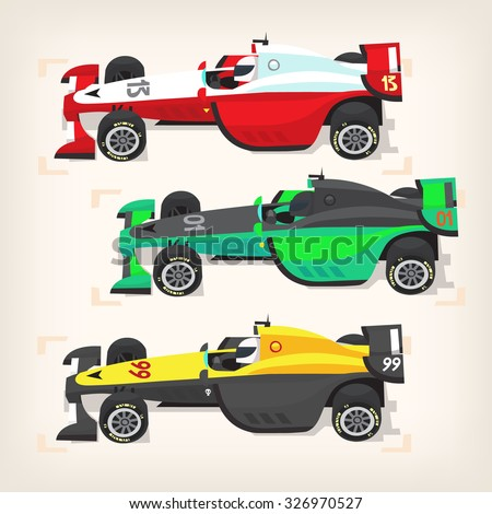 Set of colorful fast motor racing cars on a start line. - stock vector