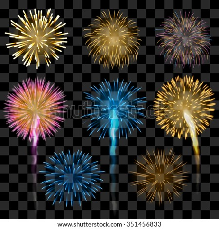Set of colorful fireworks, EPS 10 contains transparency. - stock vector