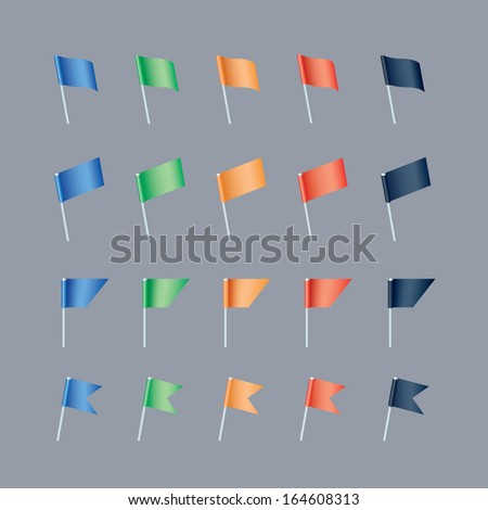 set of colorful flag pins on grey background - stock vector