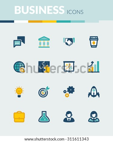 Set of colorful flat icons about  business. Start up - stock vector