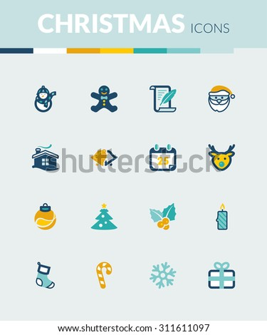 Set of colorful flat icons about Christmas - stock vector