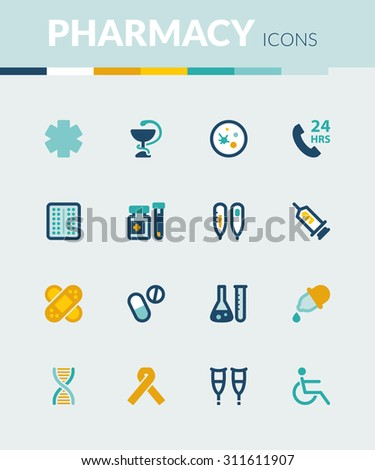 Set of colorful flat icons about  healthcare. Pharmacy - stock vector