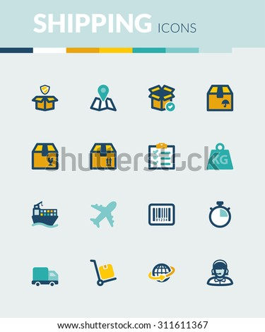 Set of colorful flat icons about  shipping - stock vector