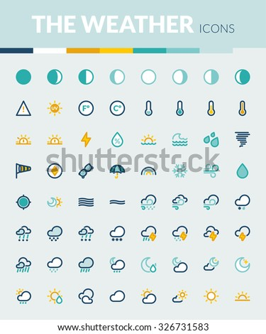 Set of colorful flat icons about The Weather - stock vector