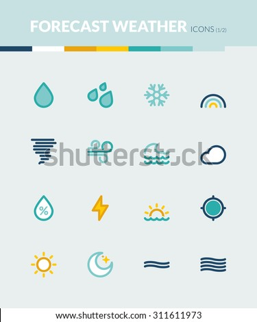 Set of colorful flat icons about  the weather. Forecast symbols 1 - stock vector