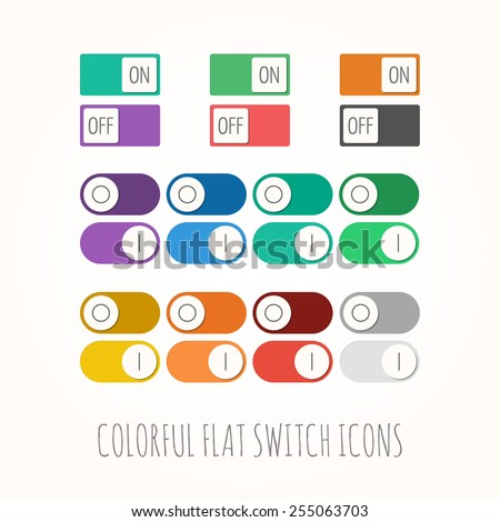 Set of colorful flat toggle switch icons (On and Off position) - stock vector