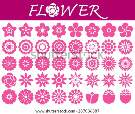 Set of colorful  flowers icons in silhouette on white background - stock vector
