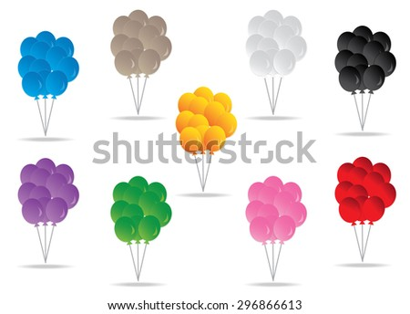 Set of colorful flying balloons bunches of various colors. Eps10, contains transparencies. Vector - stock vector
