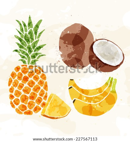 Set of colorful fresh fruit stains. Vector - stock vector