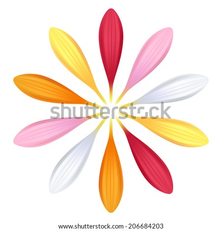 Set of colorful gerbera petals. Flower parts. Pink, red, white, yellow and orange colors. - stock vector