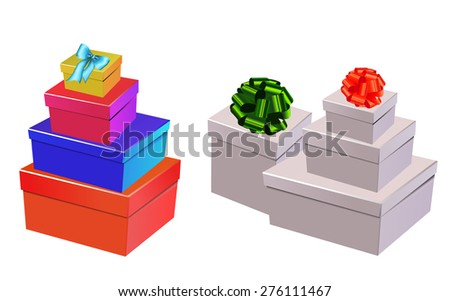 set of colorful gift boxes made in the composed - stock vector