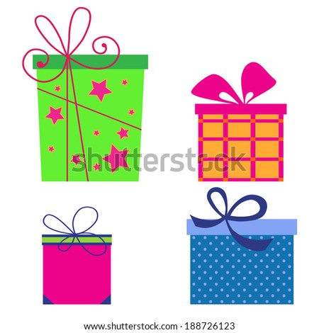 Set of colorful gift boxes. Vector  - stock vector