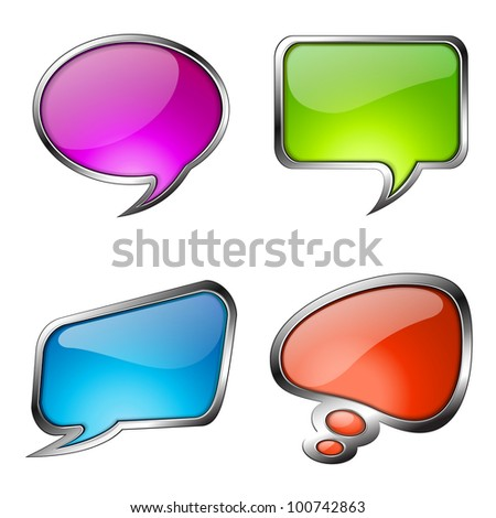 Set of colorful glass speech bubbles with metallic frames. Vector eps10 illustration - stock vector