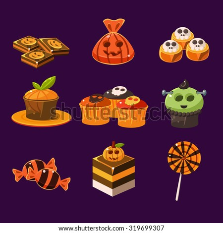 Set of colorful halloween sweets and candies icons - stock vector
