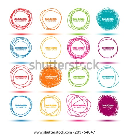 Set of colorful hand drawn scribble circles vector design template - stock vector