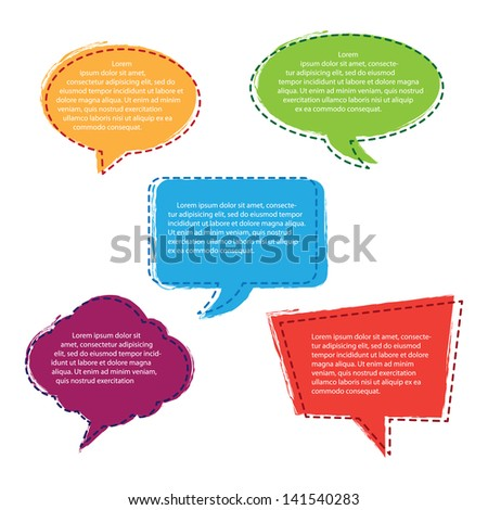 Set of Colorful Hand Drawn Speech Bubbles - stock vector