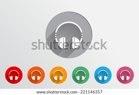 Set of colorful headset icons-EPS10 - stock vector