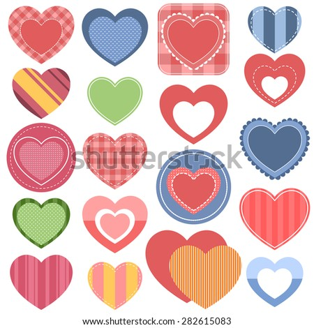 Set of colorful hearts - stock vector