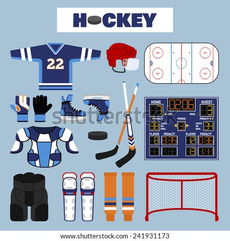 Set of colorful hockey icons in flat style. Vector illustration with various sport symbols  - stock vector