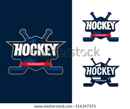Set of Colorful hockey tournament challenge logo labels on shield with two crossed hockey sticks. Vector isolated sport logo design illustration - stock vector