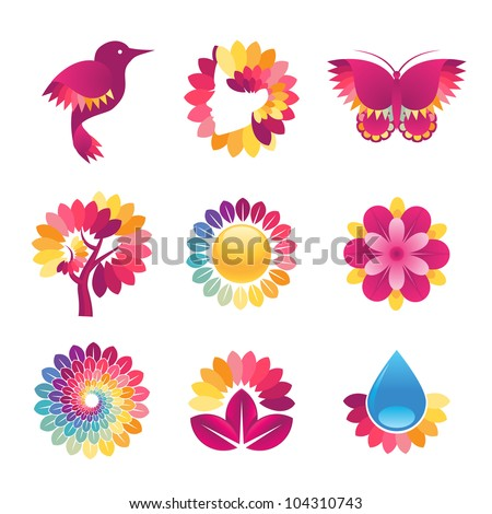 Set of colorful icons for cosmetics, spa, beauty - stock vector